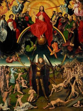 Triptych with the Last Judgement, center panel: Judgement and Weighing of Souls. by Hans Memling