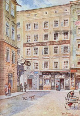 Postcard Depicting the House in Salzburg Where Wolfgang Amadeus Mozart was Born, 1912