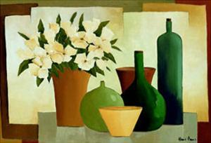 Flowers and Bottles I by Hans Paus