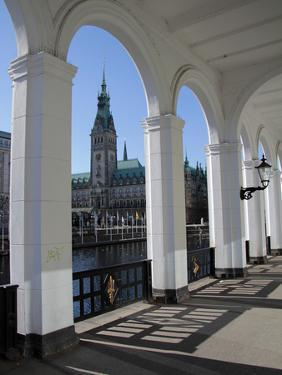 Alsterarkaden and City Hall, Hamburg, Germany, Europe by Hans Peter Merten