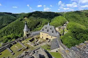 Bourscheid Castle in the Valley of Sauer River, Canton of Diekirch, Grand Duchy of Luxembourg, Euro by Hans-Peter Merten