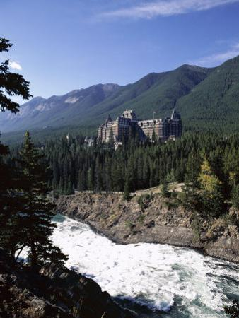 Bow River and Banff Springs Hotel, Banff National Park, Rocky Mountains, Alberta, Canada by Hans Peter Merten