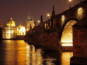 Charles Bridge over the River Vltava at Night, UNESCO World Heritage Site, Prague, Czech Republic, by Hans Peter Merten