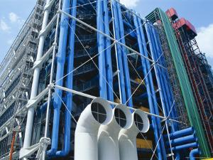 Colourful Pipework on Exterior of the Centre Pompidou (Pompidou Centre), Beaubourg, Paris, France by Hans Peter Merten