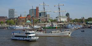 Elbe River at Landing Stages, Hamburg, Germany, Europe by Hans-Peter Merten