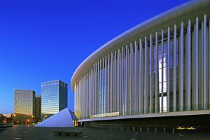 European Court of Justice and New Philharmonic Hall on Kirchberg in Luxembourg City, Grand Duchy of by Hans-Peter Merten