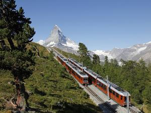 Gornergrat Railway in Front of the Matterhorn, Riffelberg, Zermatt, Valais, Swiss Alps, Switzerland by Hans Peter Merten