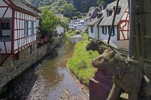 Half-timbered Houses in Monreal on River Elz, Eifel, Rhineland-Palatinate, Germany, Europe by Hans-Peter Merten