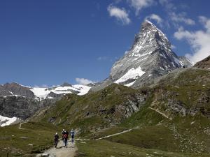 Hikers Below the Matterhorn, Zermatt, Valais, Swiss Alps, Switzerland, Europe by Hans Peter Merten
