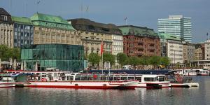 Jungfernstieg at Binnenalster, Hamburg, Germany, Europe by Hans-Peter Merten