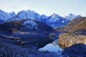 Lake Alpsee near Hohenschwangau and Tannheimer Alps, Allgau, Bavaria, Germany, Europe by Hans-Peter Merten