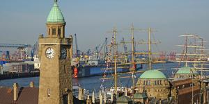 Landing Stages, Elbe River, Hamburg, Germany, Europe by Hans-Peter Merten