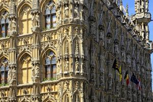 Late Gothic Town Hall at Grote Markt Square, Leuven, Brabant, Belgium, Europe by Hans-Peter Merten