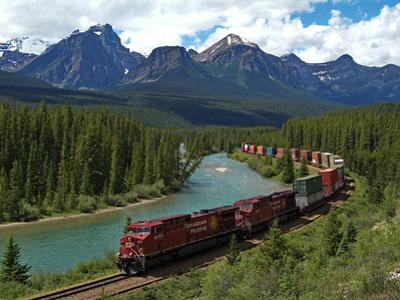 Morants Curve, Bow River, Canadian Pacific Railway, Near Lake Louise, Banff National Park, UNESCO W by Hans Peter Merten