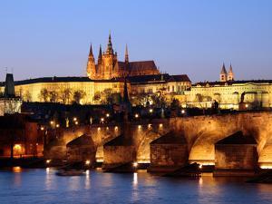 Prague Castle on the Skyline and the Charles Bridge over the River Vltava, UNESCO World Heritage Si by Hans Peter Merten