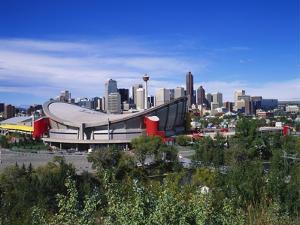 Saddledome and Skyline of Calgary, Alberta, Canada, by Hans Peter Merten