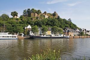 Tour Boats with Castle Ruin in Saarburg on Saar River, Rhineland-Palatinate, Germany, Europe by Hans-Peter Merten