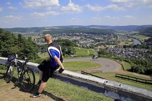 View from Mount Warsberg to Saarburg, Saar River, Rhineland-Palatinate, Germany, Europe by Hans-Peter Merten