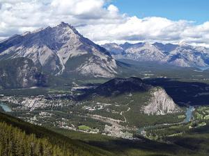 View from Sulphur Mountain to Banff, Banff National Park, UNESCO World Heritage Site, Alberta, Rock by Hans Peter Merten