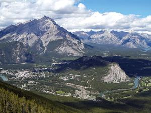 View from Sulphur Mountain to Banff, Banff National Park, UNESCO World Heritage Site, Alberta, Rock by Hans Peter Merten