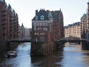 Warehouse District at Poggenmuhle, Hamburg, Germany, Europe by Hans Peter Merten