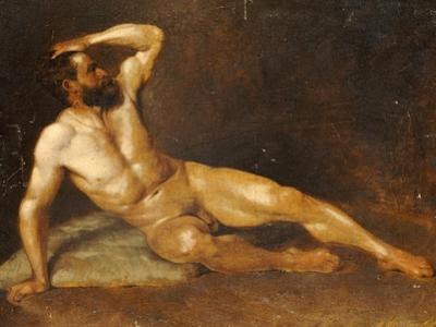 A Reclining Male Nude by Hans Von Staschiripka Canon