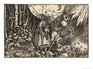 An Old Witch Working Magic Using Her Distaff to Cause a Storm by Hans Weidlitz