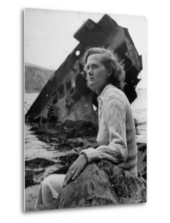 Author Daphine du Maurier Sitting by a Wrecked Ship by Hans Wild
