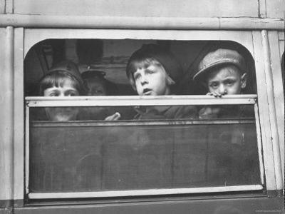 Children Being Evacuated from City During Ongoing German Bombing Blitz, aka the Battle of Britain by Hans Wild