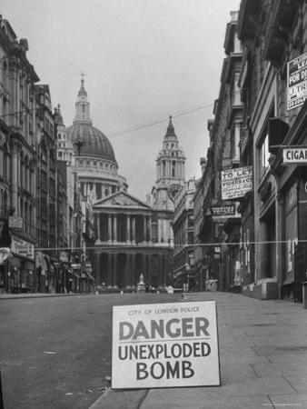 Danger Unexploded Bomb Sign at Cordoned Off Area in Front of St. Paul's Church by Hans Wild