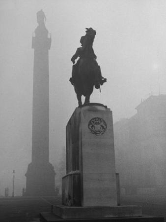 Foggy View of Monuments in Trafalgar Square, London by Hans Wild