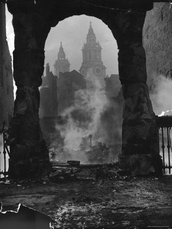 Spires of St. Paul's Cathedral After German Air Raid Bomb Attack on the City