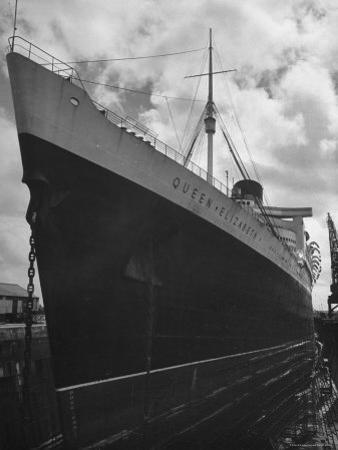 The Oceanliner Queen Elizabeth in Dry Dock For Overhaul and Refitting Prior to Her Maiden Voyage