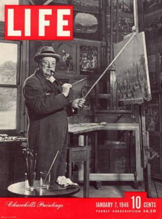 Winston Churchill at a Painting Easel, January 7, 1946 by Hans Wild