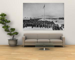 Nisei Japanese Americans Participating in Flag Saluting Ceremony at Relocation Center During WWII by Hansel Mieth