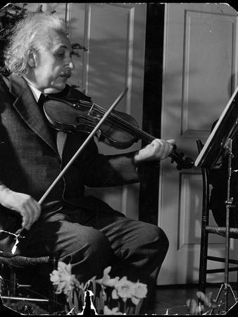 Physicist Dr. Albert Einstein Practicing His Beloved Violin