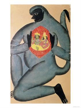 Hanuman Revealing Rama and Sita Enshrined in His Heart, Painted by Member of Patua Caste, 1880
