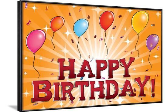 Happy Birthday (Balloons) Art Poster Print--Framed Poster