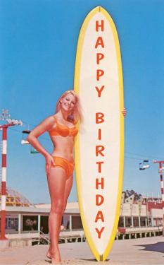 Happy Birthday, Blonde with Long Board