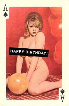 Happy Birthday, Naked Woman with Balloon on Playing Card