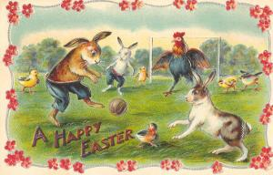 Happy Easter, Creatures Playing Soccer