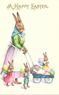Happy Easter, Mother Rabbit with Pram