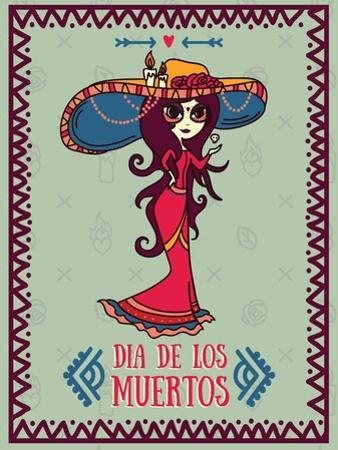 Cute Card for Dia De Los Muertos, Doodle Sugar Scull Girl, Vector Illustration by happy_fox_art