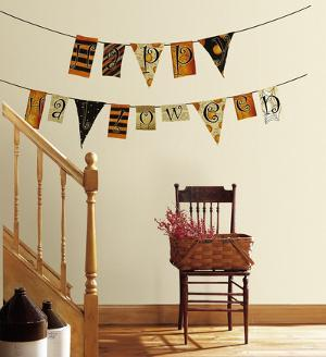 Happy Halloween Pennants Peel and Stick Wall Decals