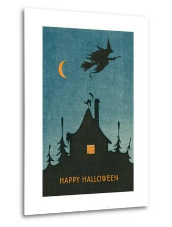 Happy Halloween, Witch Flying over House