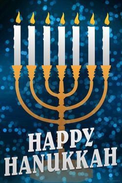 Happy Hanukkah Menorah Holiday Poster