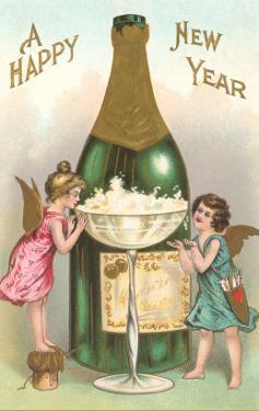 Happy New Year, Cherubs with Champagne