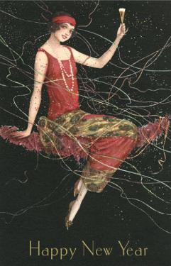 Happy New Year, Flapper with Champagne