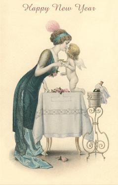 Happy New Year, Woman Kissing Cherub