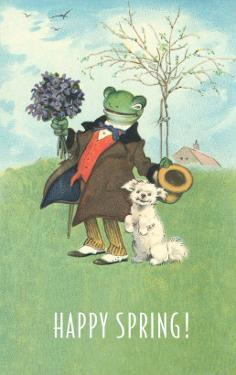 Happy Spring, Dressed Frog and Dog